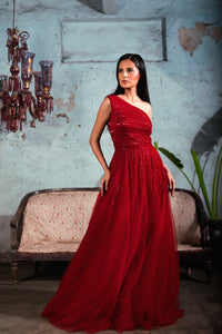 Red Asymmetric Tulle Gown with Line Embellishment