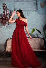 Load image into Gallery viewer, Red Asymmetric Tulle Gown with Line Embellishment