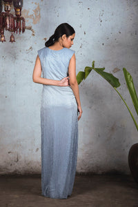 Grey to Blue Ombre Platinoir Drape Gown