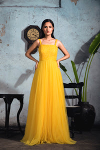 Bright Yellow Embellished Polka Dot Tulle Gown