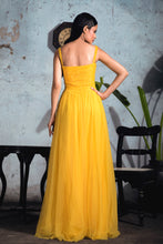 Load image into Gallery viewer, Bright Yellow Embellished Polka Dot Tulle Gown