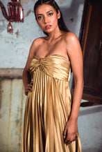 Load image into Gallery viewer, Golden Pleated Tube Gown with Bow