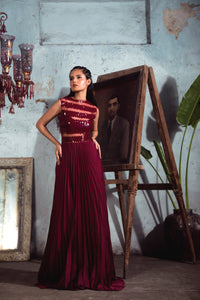 Maroon Chiffon Sheer Pleated Gown with Geometric Embellishment.