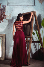 Load image into Gallery viewer, Maroon Chiffon Sheer Pleated Gown with Geometric Embellishment.
