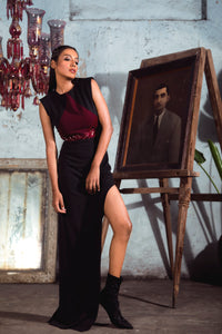 Maroon and Black Sheath Dress with Shaped Slit