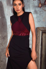 Load image into Gallery viewer, Maroon and Black Sheath Dress with Shaped Slit