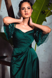 Bottle Green Satin Draped Gown with Embellished Flare Sleeves