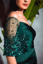 Load image into Gallery viewer, Bottle Green Satin Draped Gown with Embellished Flare Sleeves