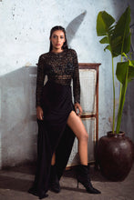 Load image into Gallery viewer, Black Embellished Leotard with Separate Draped Skirt