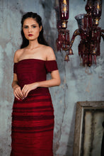 Load image into Gallery viewer, Maroon to Red Ombre Textured Chiffon Gown