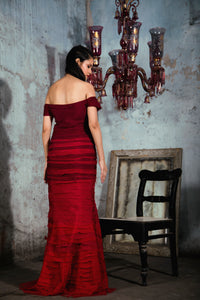 Maroon to Red Ombre Textured Chiffon Gown