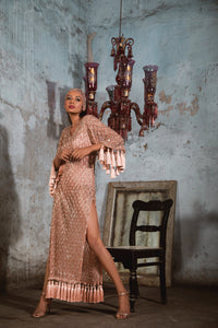 Nude Fully Embellished Dress with Tassles