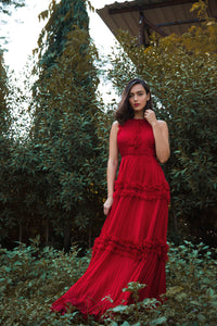 Red Chiffon Draped Gown with Ruffles