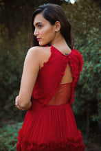 Load image into Gallery viewer, Red Chiffon Draped Gown with Ruffles