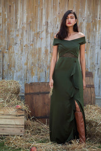 Ruffles and Lace Military Green Off Shoulder Gown