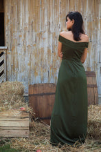 Load image into Gallery viewer, Ruffles and Lace Military Green Off Shoulder Gown