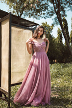 Load image into Gallery viewer, Mauve Polka Dot Sequin Embellished Ball Gown