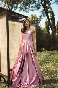 Mauve to Pink Ombre Off Shoulder Ball Gown