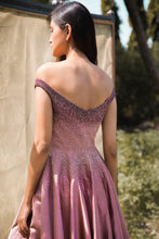 Load image into Gallery viewer, Mauve to Pink Ombre Off Shoulder Ball Gown