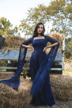 Load image into Gallery viewer, Midnight Blue Jumpsuit with Abstract Embellished Net Kimono