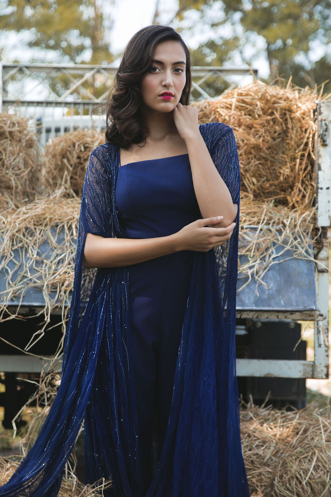 Midnight Blue Jumpsuit with Abstract Embellished Net Kimono
