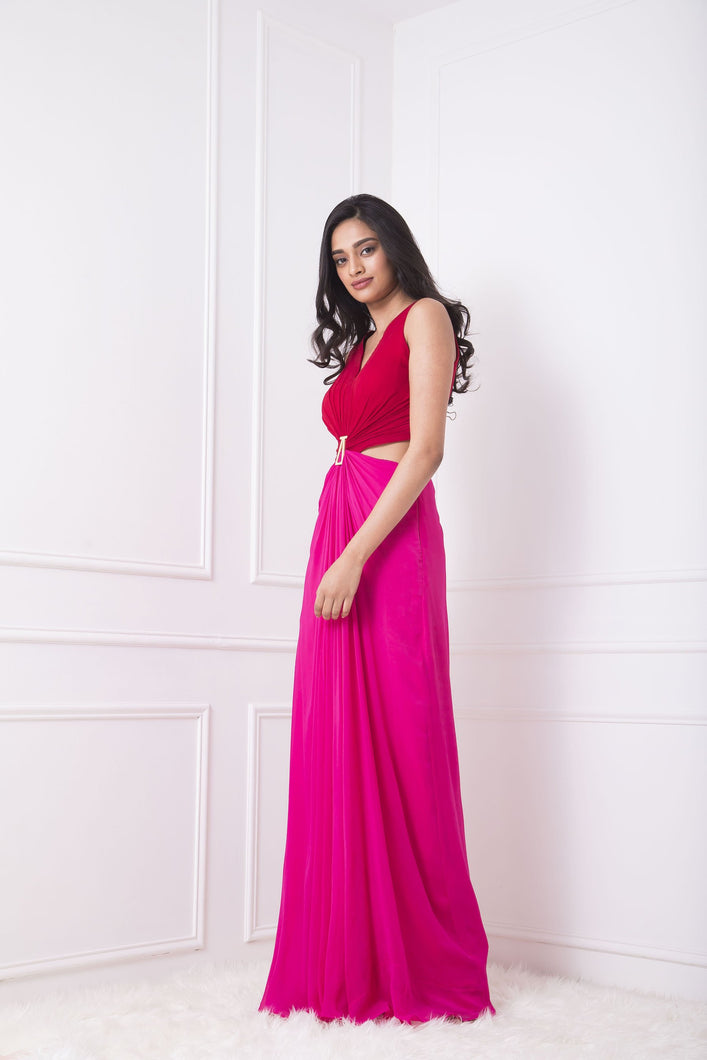 Red and Pink Draped Cutout Gown