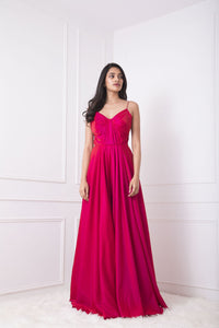 Two Tone Red and Pink Ball Gown