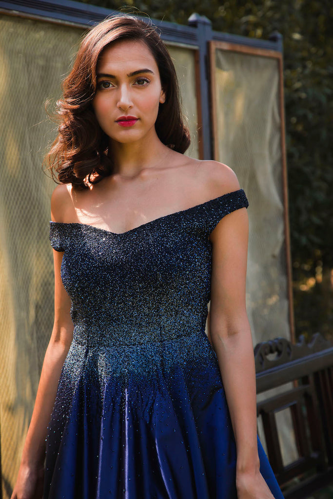 Black to Midnight Blue Ombre Couture Ball Gown