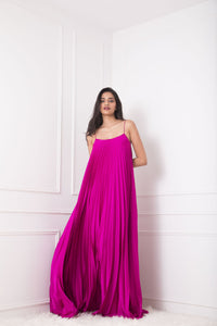 Bright Pink Heat Pleated Spaghetti Gown