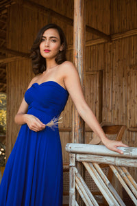 Blue Georgette Draped Gown
