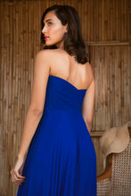 Load image into Gallery viewer, Blue Georgette Draped Gown