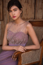 Load image into Gallery viewer, Dusty Pink Stretch Net Abstract Embellished Gown