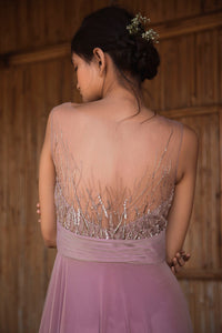 Dusty Pink Stretch Net Abstract Embellished Gown