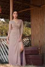 Load image into Gallery viewer, Nude Line Embellished Draped Couture Gown
