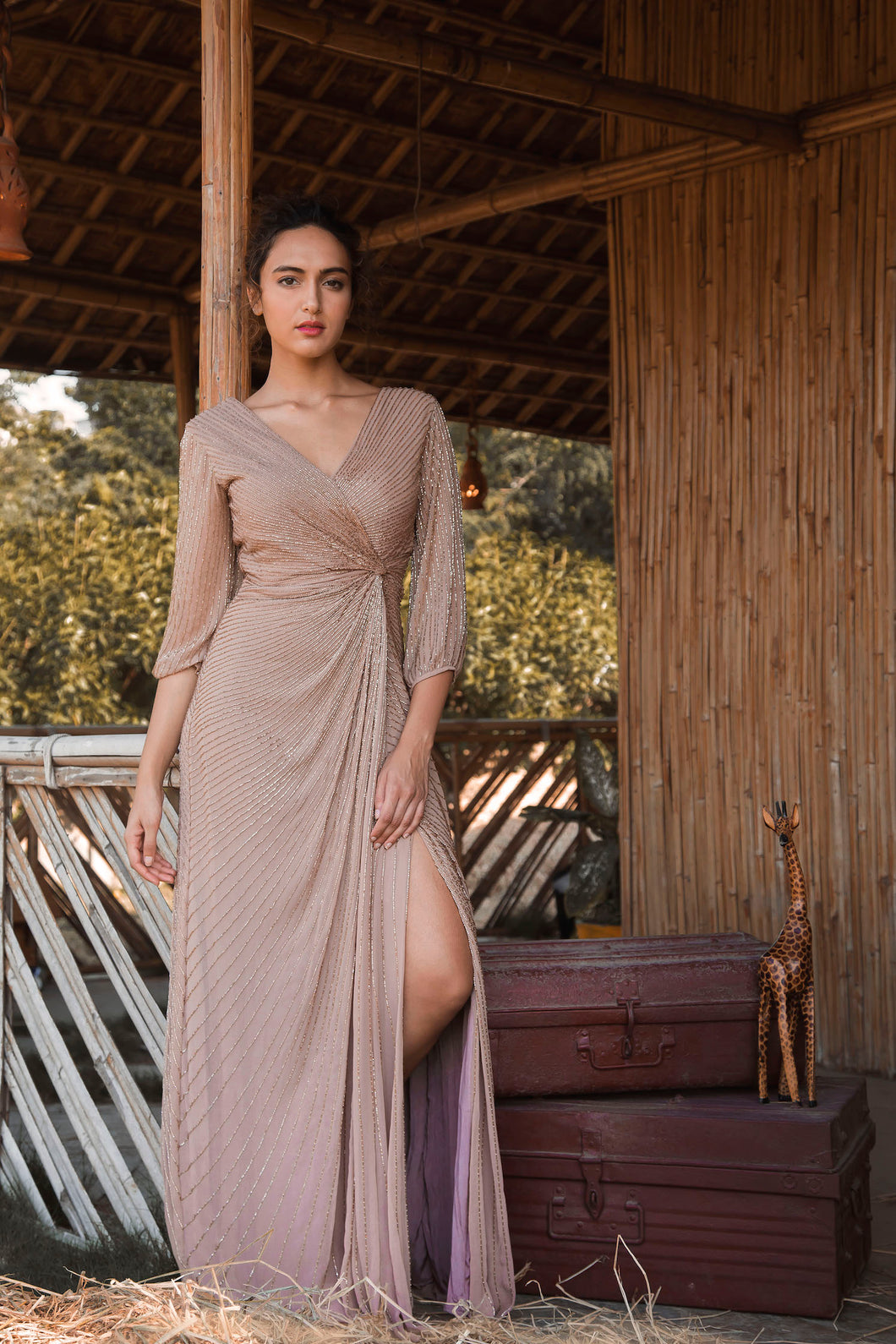 Nude Line Embellished Draped Couture Gown