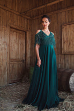 Load image into Gallery viewer, Bottle Green Embellished Flare Sleeve Gown