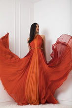 Load image into Gallery viewer, Rust to Orange Color Block Pleated Gown