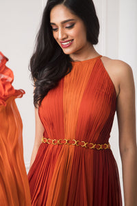 Rust to Orange Color Block Pleated Gown