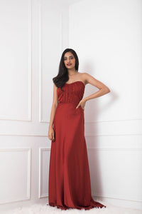 Rust Silk Tube Gown with Embellishment