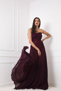 Ox Blood Lace Embellished Tube Gown
