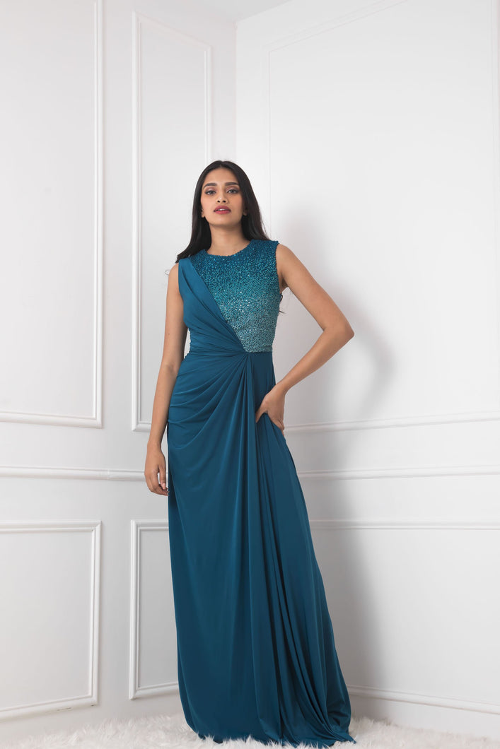 Teal Draped Gown with Ombre Embellishment