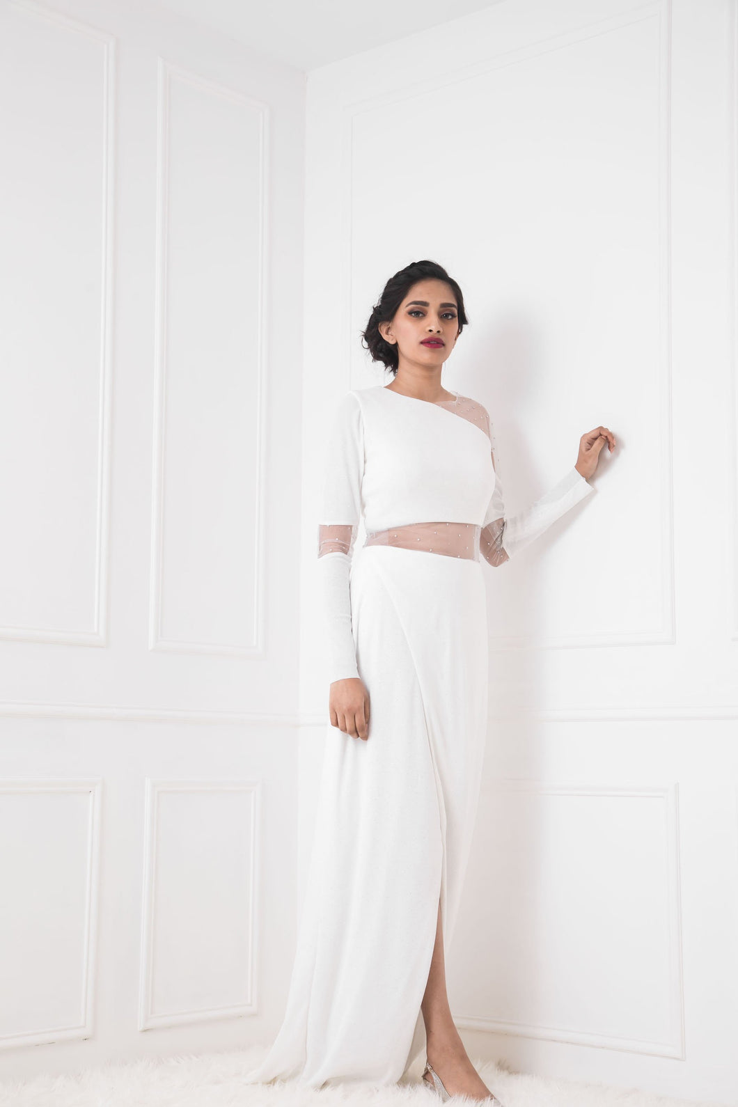 White Embellished Sheath Gown with Sheer Waist