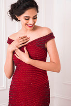 Load image into Gallery viewer, Red to Maroon Ombre Embellished Trumpet Gown