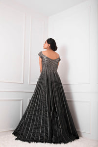 Black Silver Embellished Ball Gown