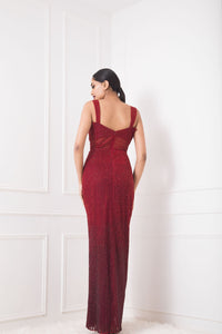 Red Ombre Fully Embellished Sheath Gown