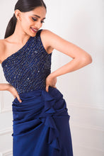 Load image into Gallery viewer, Deep Blue Sequin Embellished One Shoulder Gown