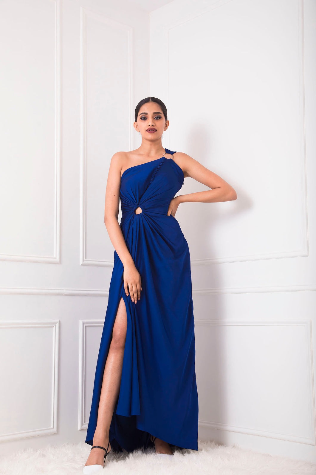Royal Blue Draped Gown with Fabric Buttons and Ring