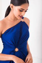 Load image into Gallery viewer, Royal Blue Draped Gown with Fabric Buttons and Ring