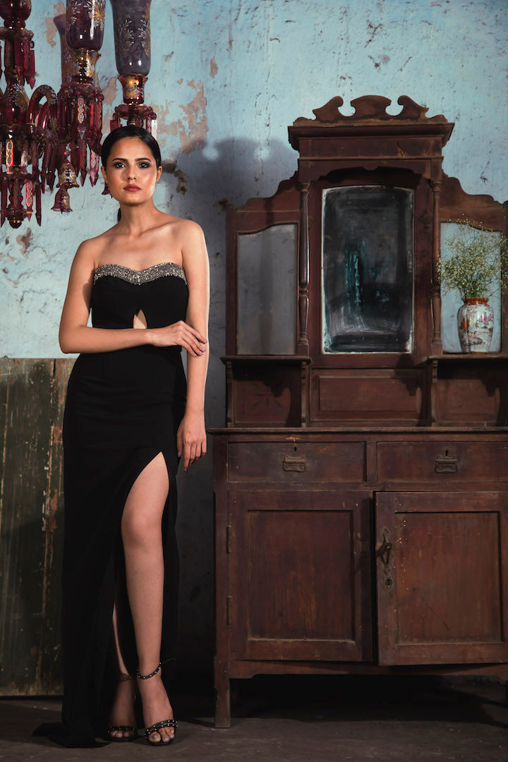 Black banana crepe tube dress with 3D salli embellishment and slit in the front