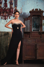 Load image into Gallery viewer, Black banana crepe tube dress with 3D salli embellishment and slit in the front